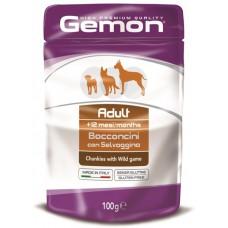 Корм Gemon паучи для собак с кусочками дичи