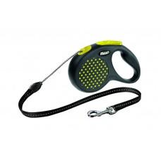 Flexi Design M рулетка-трос для собак жёлтая 5м/20кг