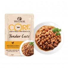 Пауч Wellness CORE для кошек нежные кусочки курицы и куриной печени в пикантном соусе